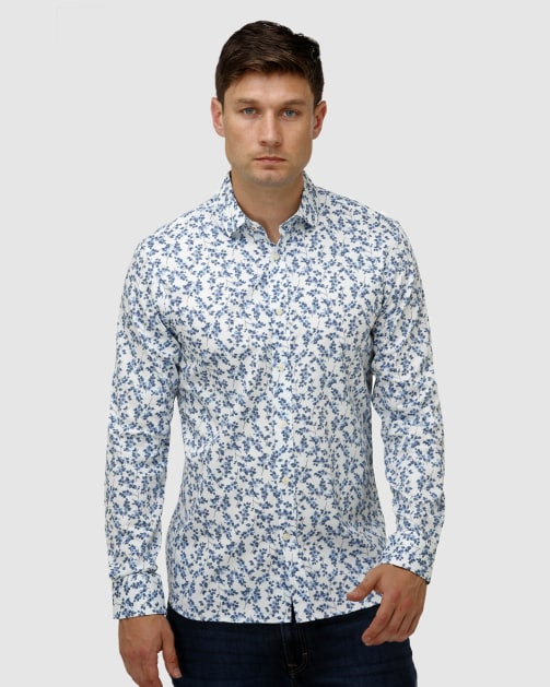 Enlarge  BROOKSFIELD Mens Paisley Print Satin Business Shirt BFC1645 BLUE