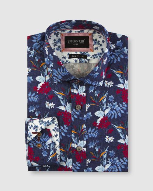 Brooksfield Hawaiian Print Satin Business Shirt BFC1646 colour: Navy