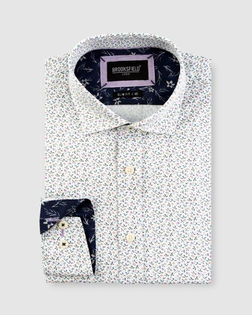 Brooksfield Mini Floral Print Satin Business Shirt BFC1647 colour: WHITE