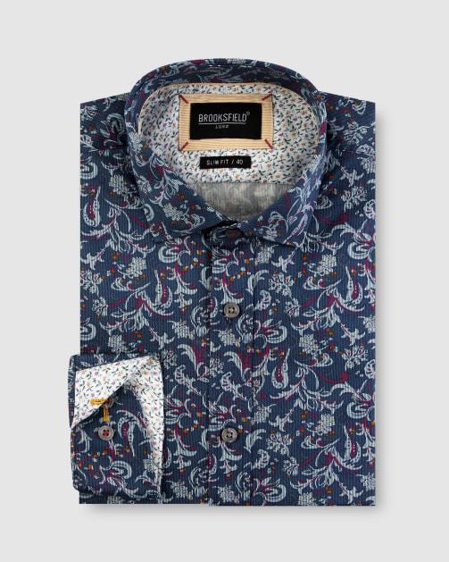 Brooksfield Paisley Print Satin Business Shirt BFC1648 colour: NAVY