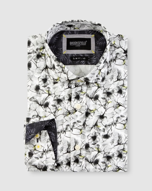 Brooksfield Modern Floral Print Satin Business Shirt BFC1649 colour: White