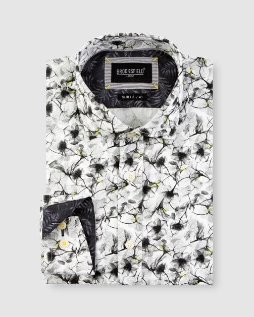 Brooksfield Modern Floral Print Satin Business Shirt BFC1649 colour: White