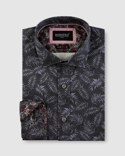 Brooksfield Tonal Leaf Print Satin Business Shirt BFC1650 colour: Black