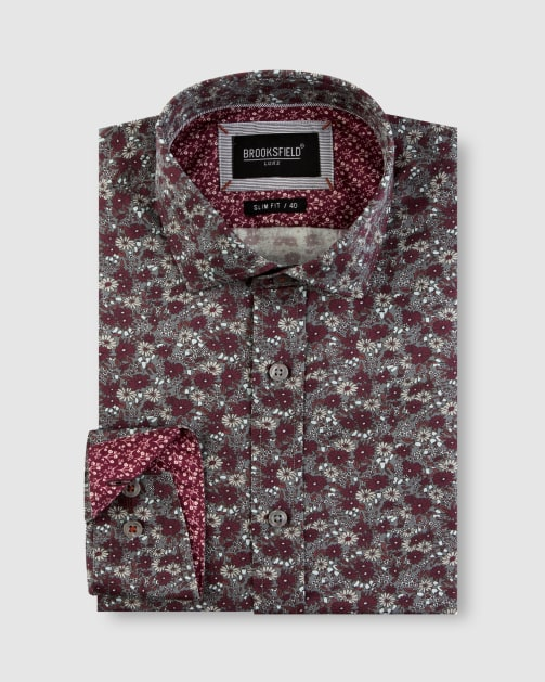 Enlarge  BROOKSFIELD Mens Winter Floral Print Satin Business Shirt BFC1651 GREY