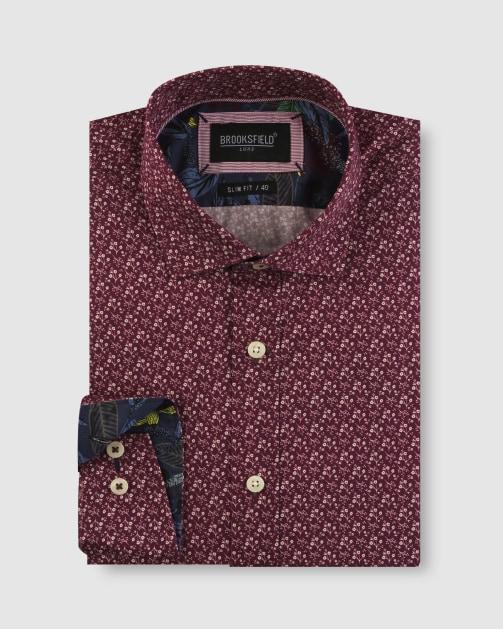 Brooksfield Floral Motif Print Satin Business Shirt BFC1653 colour: Wine