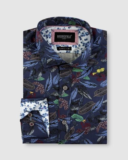 Brooksfield Tonal Hawaiian Print Satin Business Shirt  BFC1654 colour: Navy