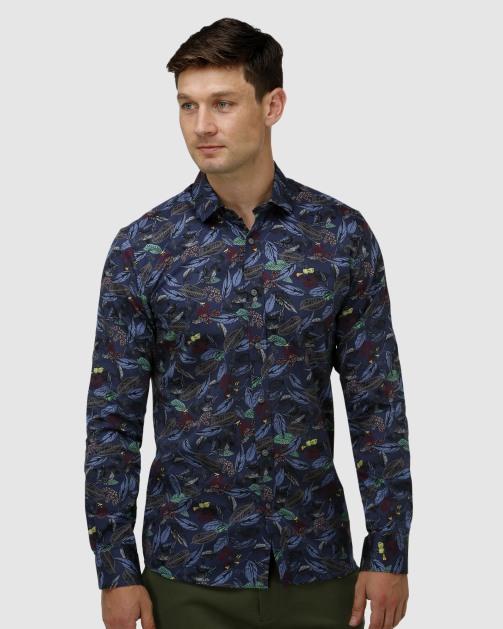 Enlarge  BROOKSFIELD Mens Tonal Hawaiian Print Satin Business Shirt  BFC1654 Navy