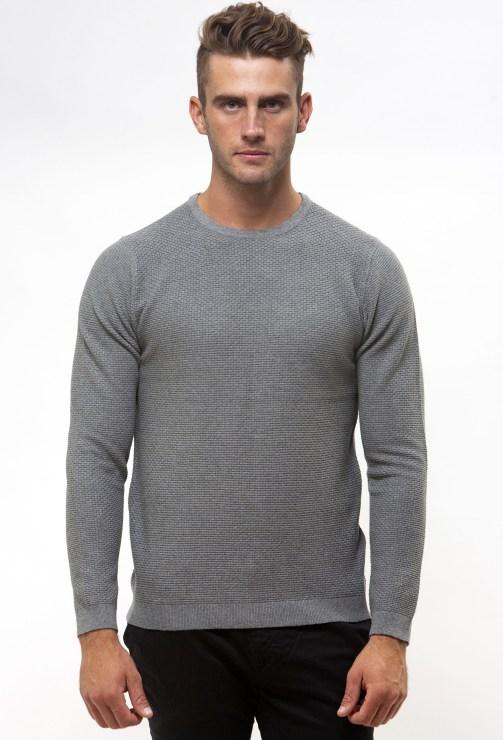 Enlarge  BROOKSFIELD Mens Crew Neck Textured Sweater BFK391 GREY