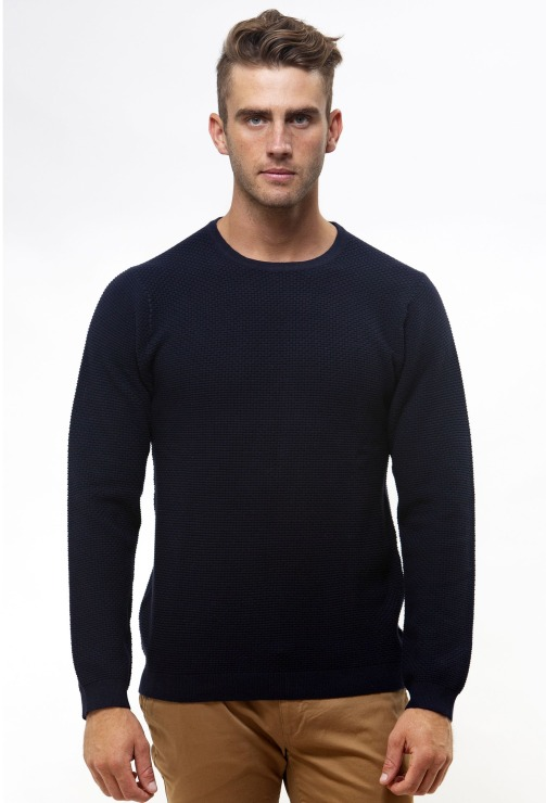 Brooksfield Crew Neck Textured Sweater BFK391 colour: NAVY