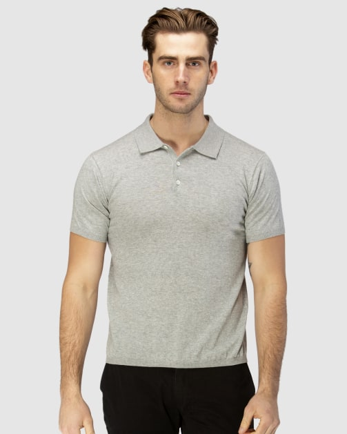 Brooksfield Short Sleeve Knit Polo with Collar BFK393 colour: GREY
