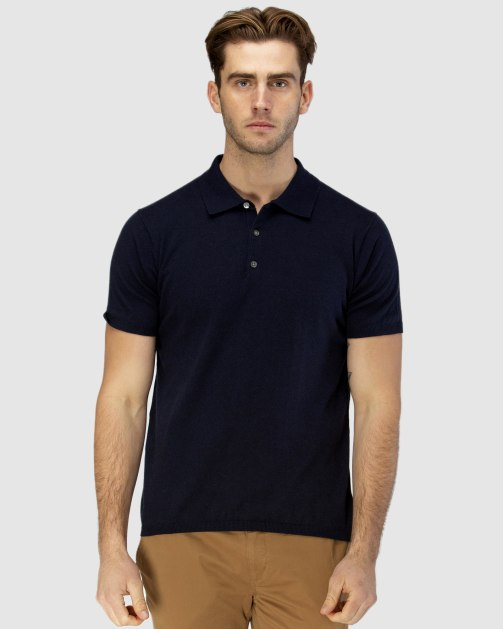 Brooksfield Short Sleeve Knit Polo with Collar BFK393 colour: NAVY