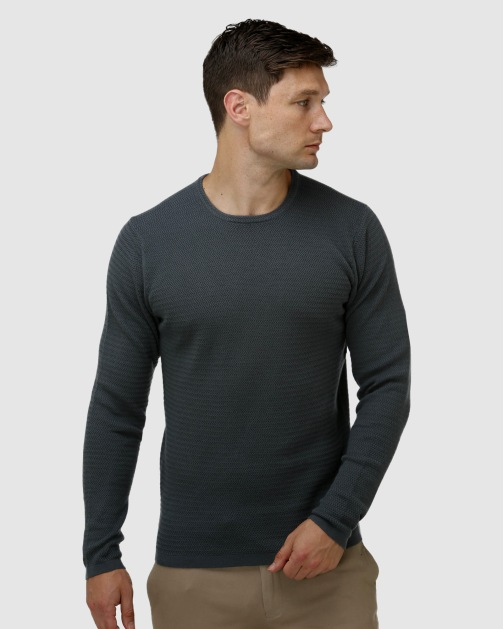 Brooksfield Textured Core Crew Neck Sweater BFK396 colour: FOREST