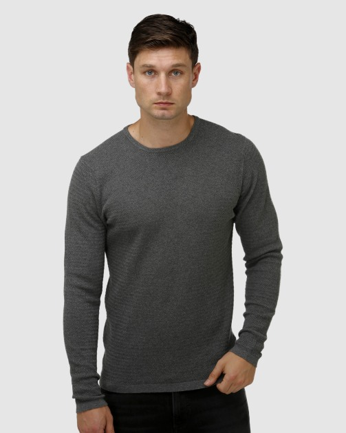 Brooksfield Textured Core Crew Neck Sweater BFK396 colour: Grey