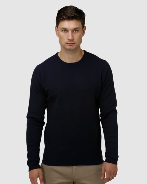 Brooksfield Textured Core Crew Neck Sweater BFK396 colour: NAVY