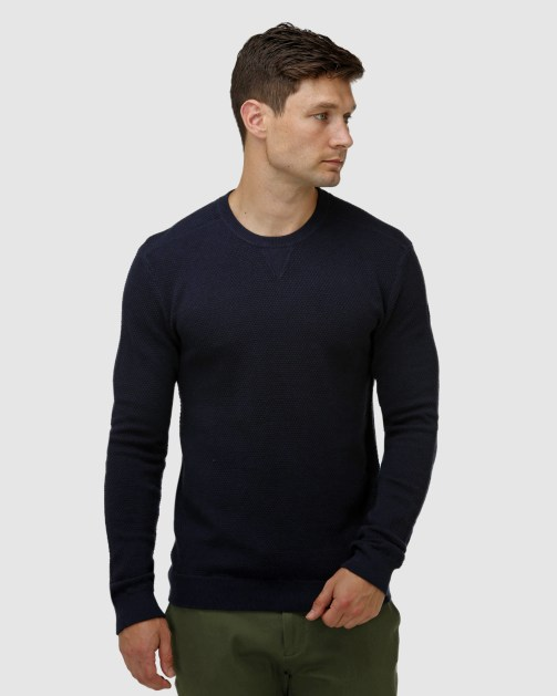 Brooksfield 'V' Panel Crew Neck Sweater BFK398 colour: NAVY