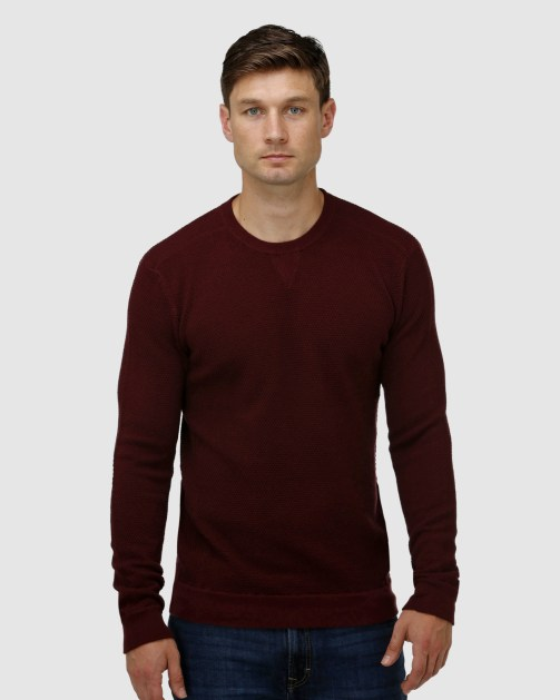 Brooksfield 'V' Panel Crew Neck Sweater BFK398 colour: WINE