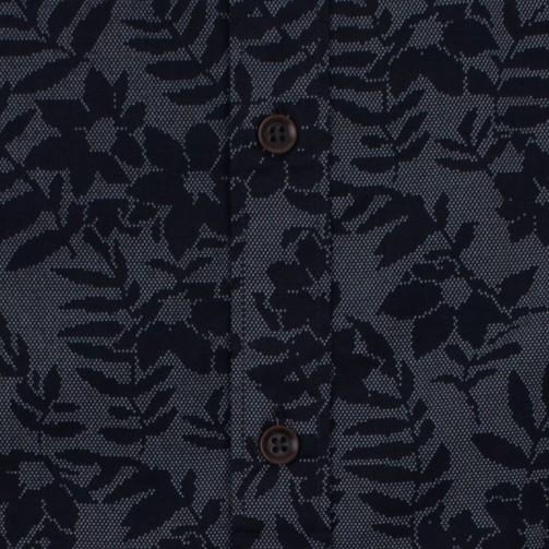 Enlarge  BROOKSFIELD Mens Dot Flower Print Casual Short Sleeve Shirt BFS921 NAVY
