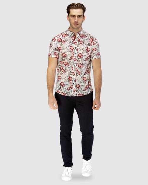 Enlarge  BROOKSFIELD Mens Hawaiian Print Short Sleeve Casual Shirt BFS940 RED