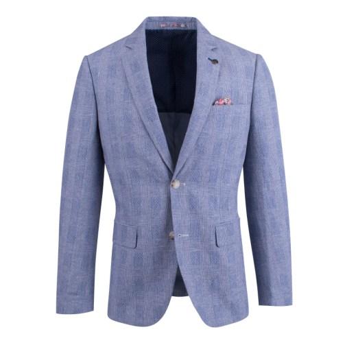 Brooksfield Linen Blend Prince of Wales Check Blazer BFU807 colour: BLUE