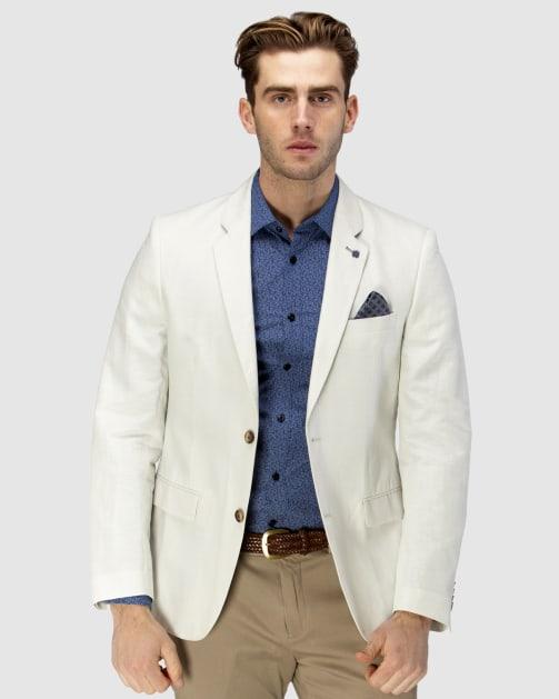 Brooksfield Linen Blend Textured Plain Blazer BFU833 colour: BONE