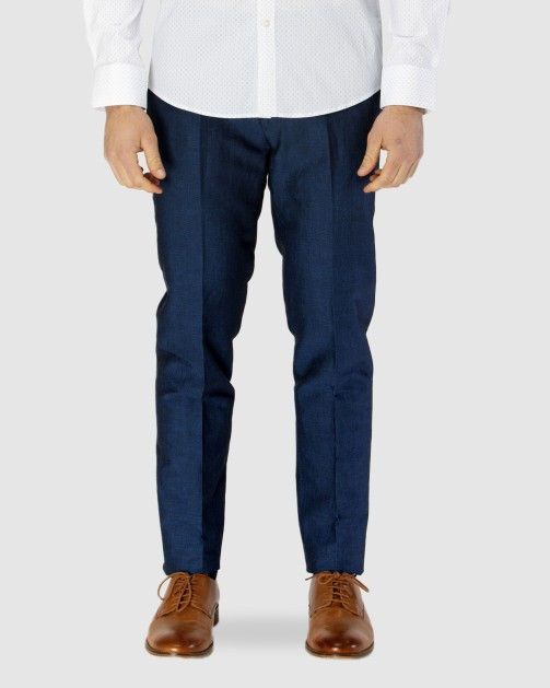 Brooksfield Linen Blend Textured Plain Trouser BFU834 colour: NAVY