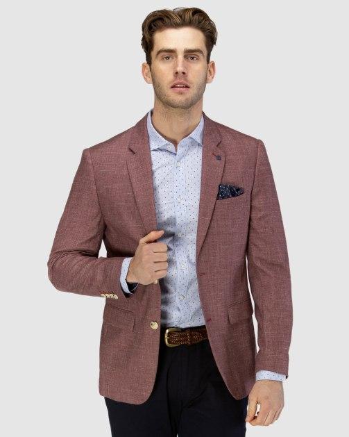 Brooksfield Two-tone Textured Blazer BFU839 colour: BURGUNDY