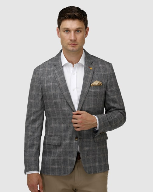Brooksfield Stretch Textured Window Pane Blazer BFU851 colour: CHARCOAL