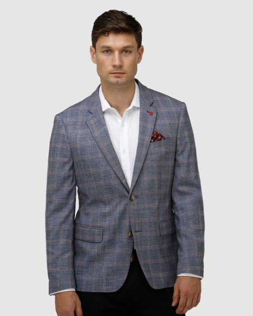 Brooksfield Stretch Textured Window Pane Blazer BFU851 colour: NAVY