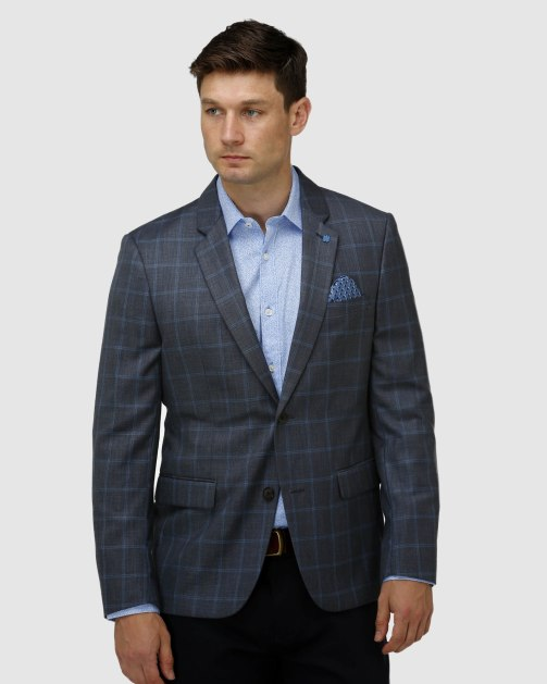Brooksfield Fine Window Pane Check Blazer BFU855 colour: Grey