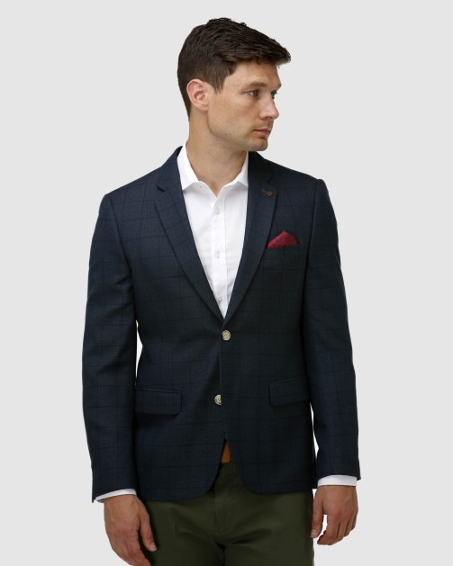 Brooksfield Intricate Textured Plain Blazer BFU856 colour: FOREST