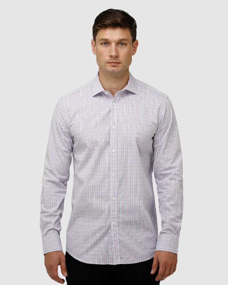 Enlarge  BROOKSFIELD Mens Multi Coloured Check Business Shirt BFC1622 BERRY