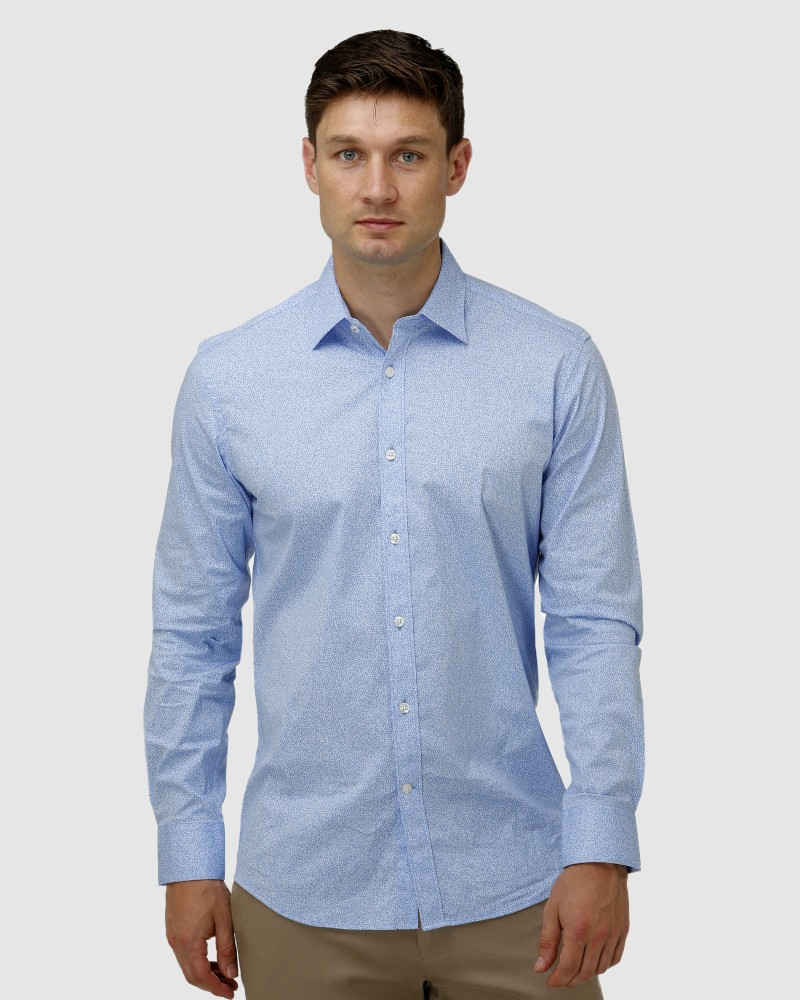 Enlarge  BROOKSFIELD Mens Stretch Abstract Flower Print Business Shirt BFC1629 LIGHT BLUE