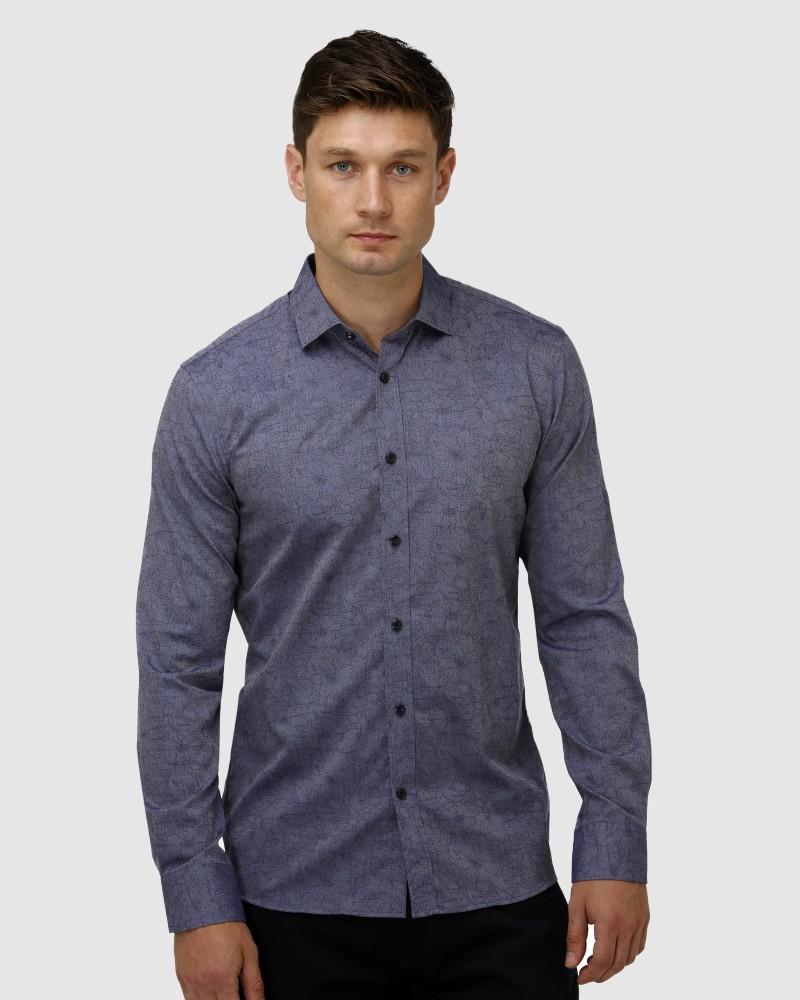 Enlarge  BROOKSFIELD Mens Floral Jacquard Business Shirt BFC1636 NAVY