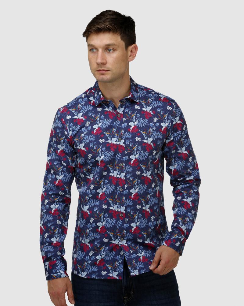 Enlarge  BROOKSFIELD Mens Hawaiian Print Satin Business Shirt BFC1646 Navy