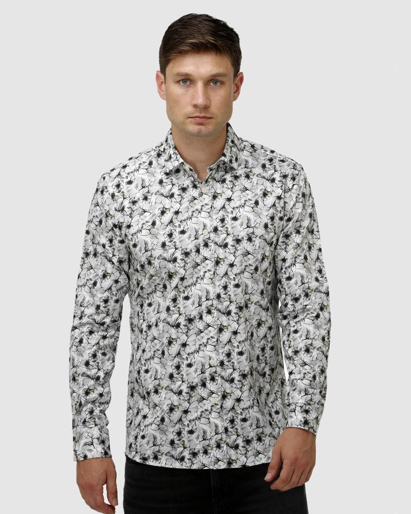 Enlarge  BROOKSFIELD Mens Modern Floral Print Satin Business Shirt BFC1649 White