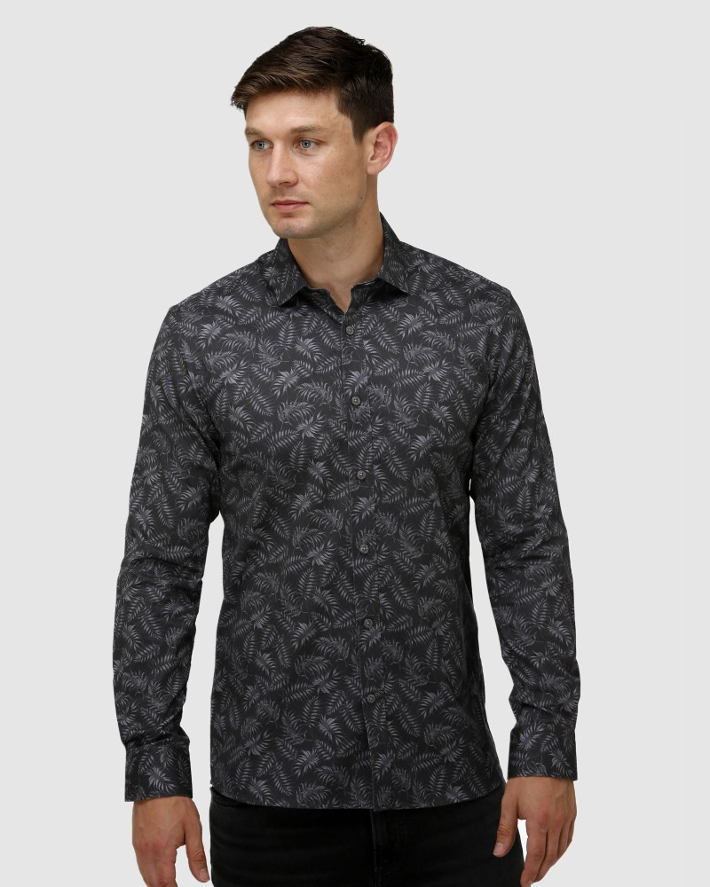 Enlarge  BROOKSFIELD Mens Tonal Leaf Print Satin Business Shirt BFC1650 Black