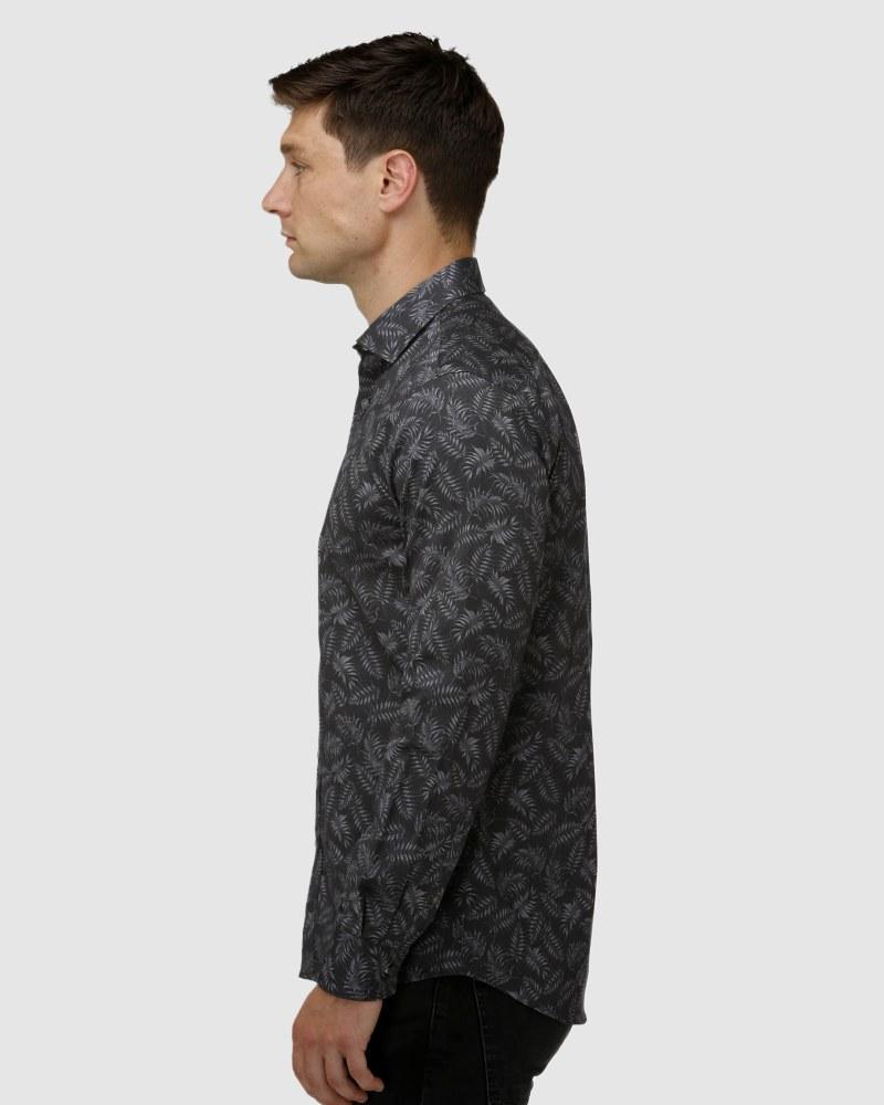 Enlarge  BROOKSFIELD Mens Tonal Leaf Print Satin Business Shirt BFC1650 Black