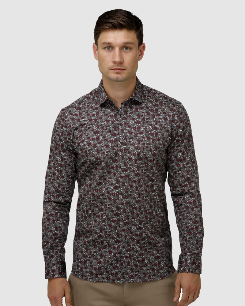 Enlarge  BROOKSFIELD Mens Winter Floral Print Satin Business Shirt BFC1651 GREY