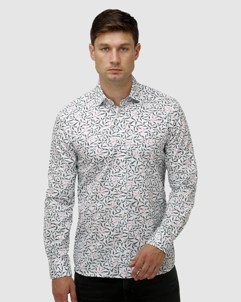 Enlarge  BROOKSFIELD Mens Geo Leaf Print Satin Business Shirt BFC1652 WHITE