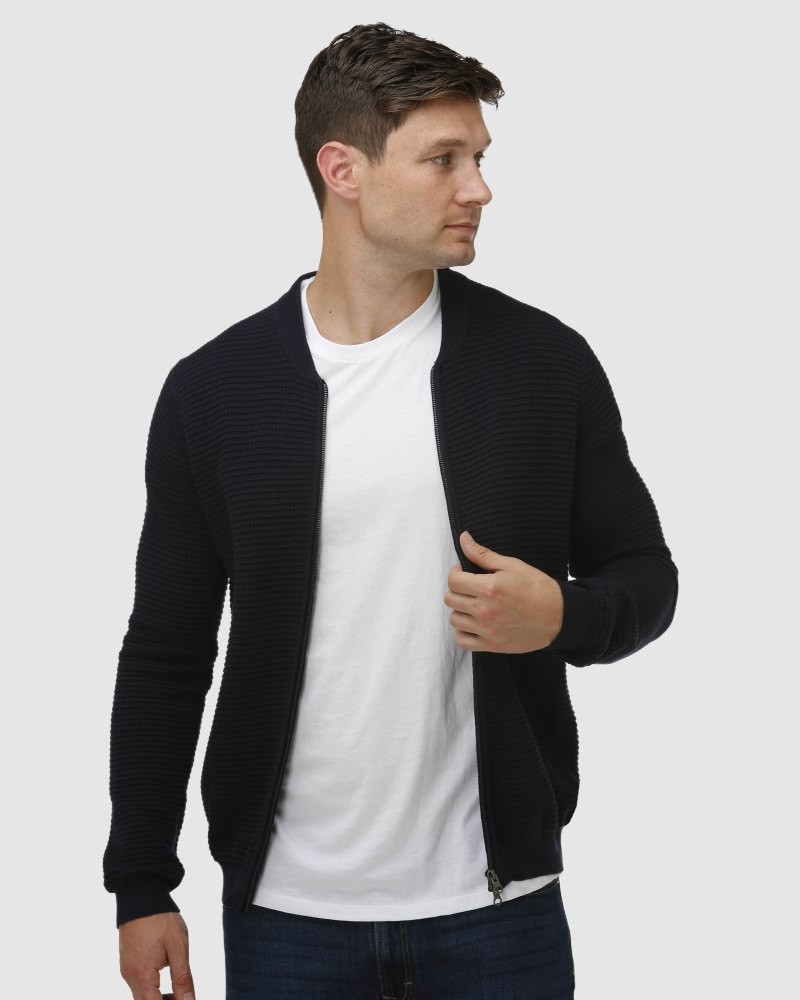 Enlarge  BROOKSFIELD Mens Waffle Weave Zip Through Cardigan BFK397 Navy