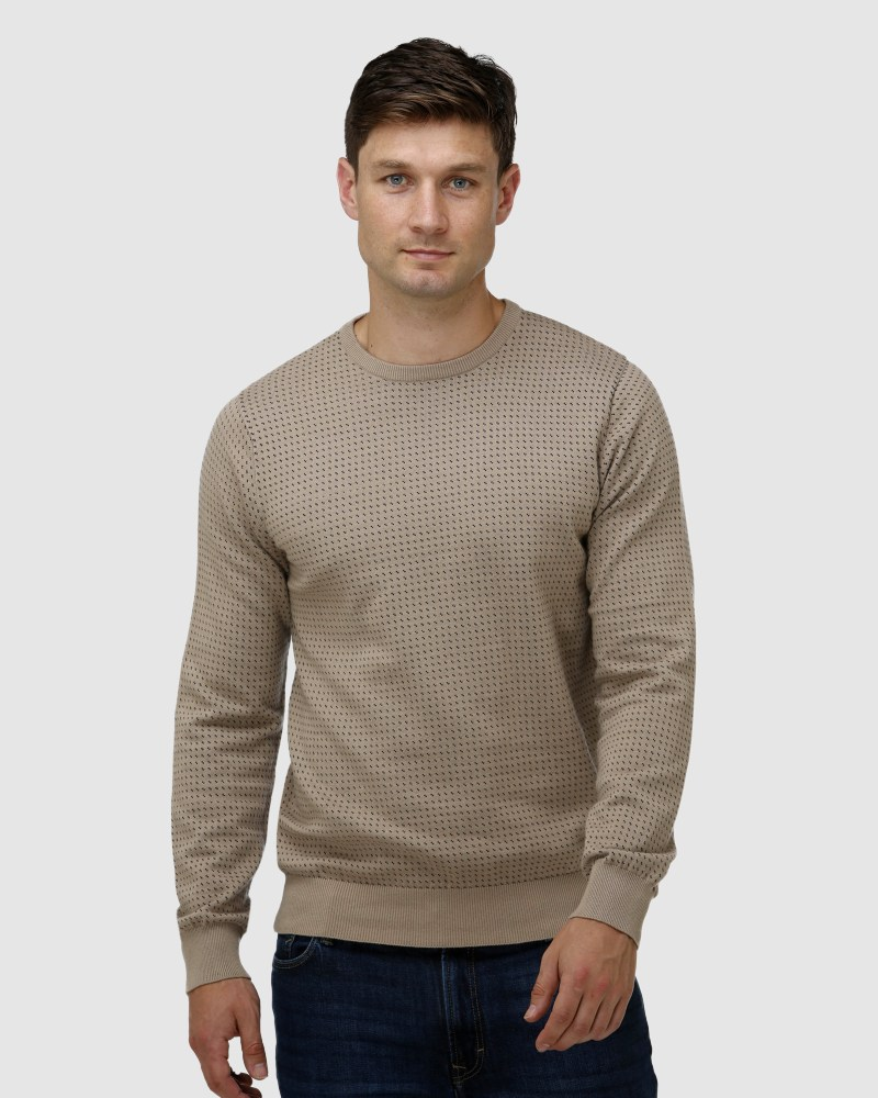 Enlarge  BROOKSFIELD Mens Birdseye Crew Neck Sweater BFK399 OATMEAL