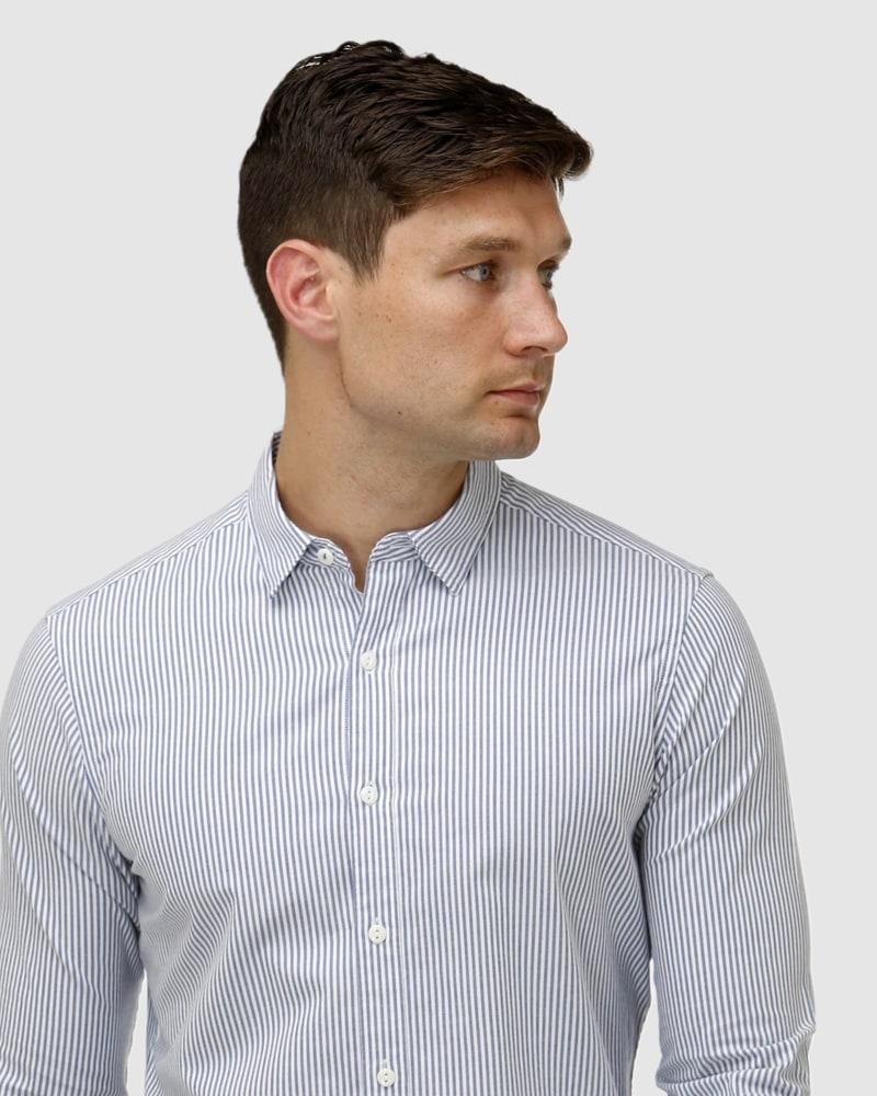 Enlarge  BROOKSFIELD Mens Vertical Stripe Oxford Casual Shirt BFS962 Navy