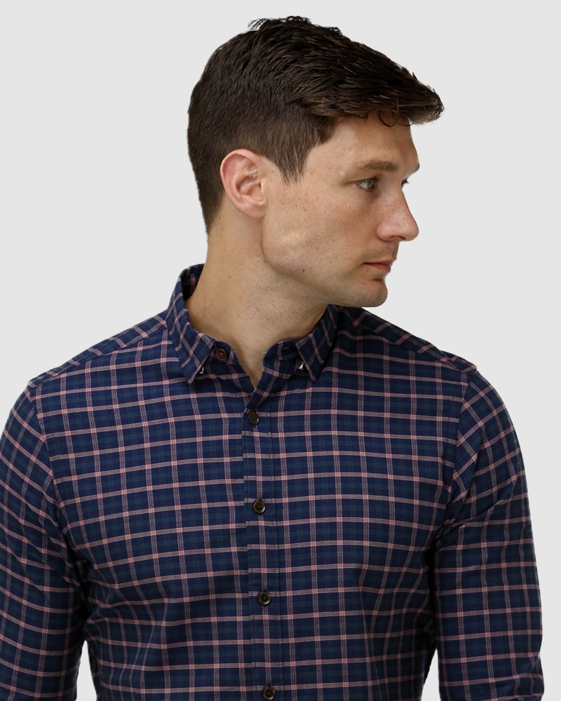 Enlarge  BROOKSFIELD Mens Brushed Plaid Casual Shirt BFS966 Berry