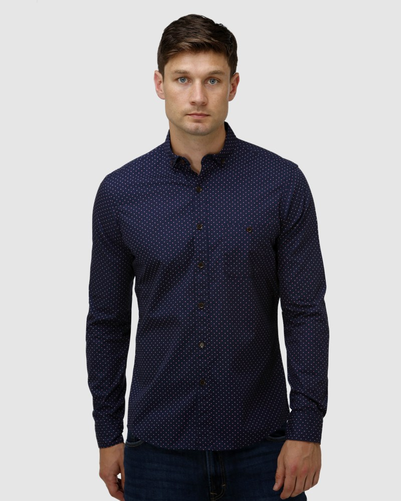 Enlarge  BROOKSFIELD Mens Abstract Print Casual Shirt BFS967 Navy