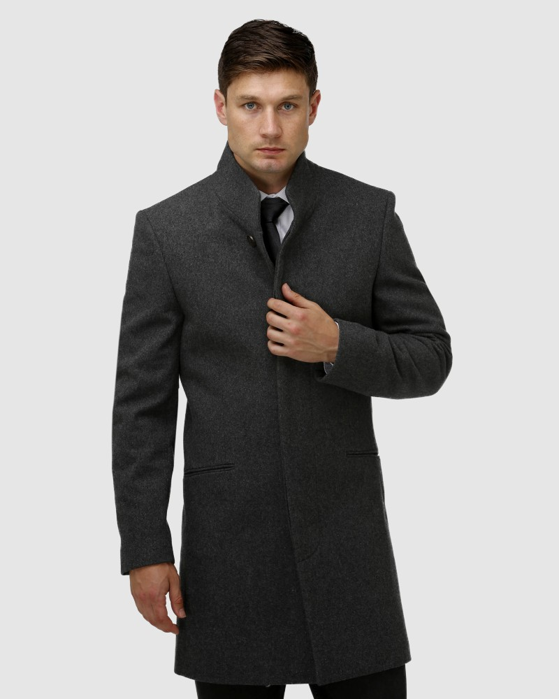 Enlarge  BROOKSFIELD Mens Sleek Long-line Overcoat BFU858 Charcoal