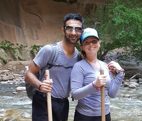 Saad and his wife hiking the Narrows at Zion National Park in Utah.