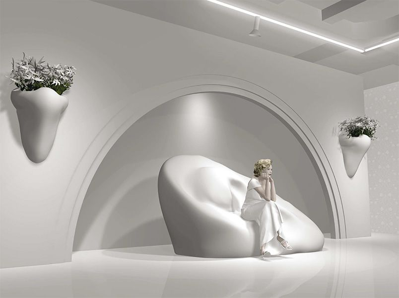 John Baldessari – Ear Sofa Nose Sconces with Flowers (In Stage Setting) – London