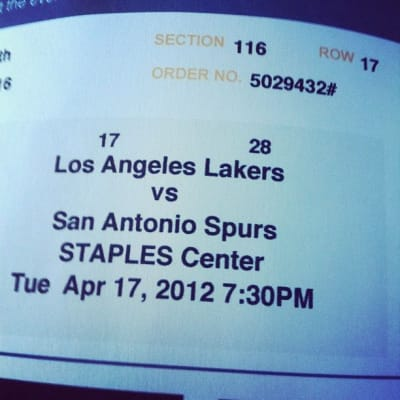 Ticket stub for Lakers vs. Spurs