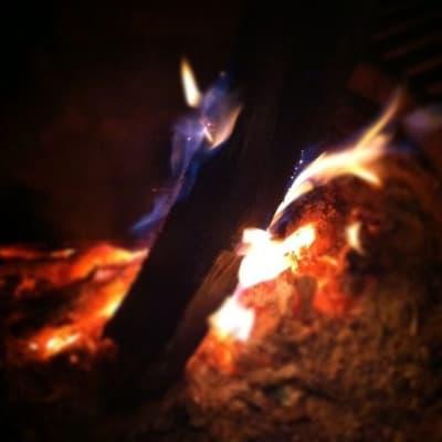 Close up of the bonfire