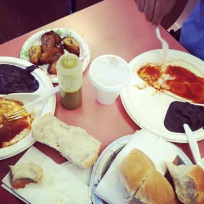 Our table full of food at the Guatemalan Bakery